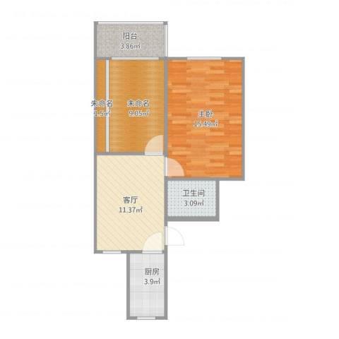 建业新村1室1厅1卫1厨66.00㎡户型图
