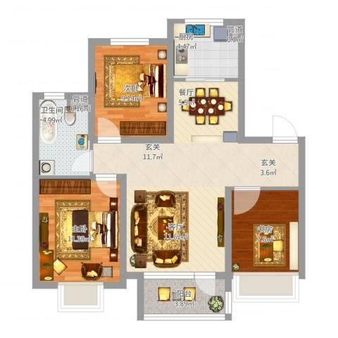 华发九龙湾中心3室1厅1卫1厨102.00㎡户型图