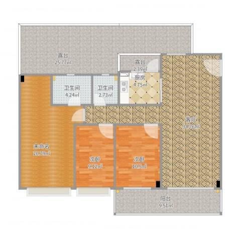翠湖居2室1厅3卫1厨168.00㎡户型图