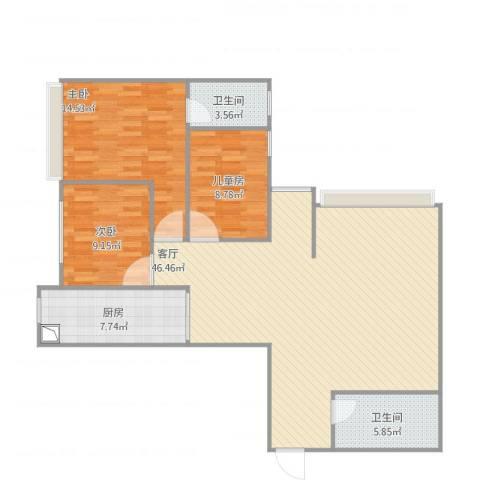 永川康安尚都3室1厅2卫1厨129.00㎡户型图