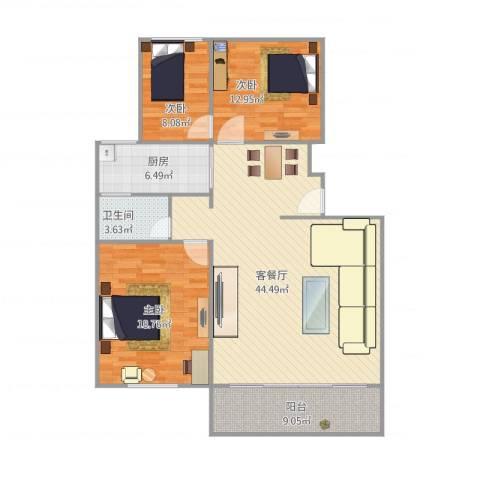由由民丰苑3室1厅1卫1厨138.00㎡户型图