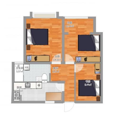 海尚花园3室1厅1卫1厨73.00㎡户型图