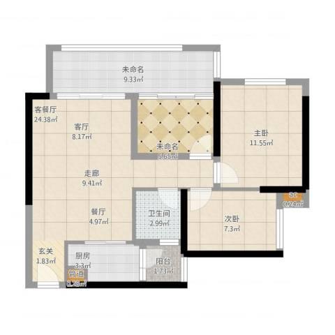 珑湖湾东岸2室1厅1卫1厨97.00㎡户型图