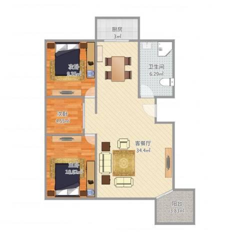 艾菲尔花园3室1厅1卫1厨97.00㎡户型图