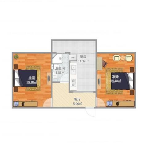 闵子骞路单位宿舍2室1厅1卫1厨70.00㎡户型图