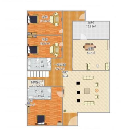 南山苑3室1厅2卫1厨500.00㎡户型图