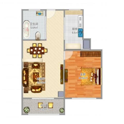 莲溪六村1室1厅1卫1厨78.00㎡户型图