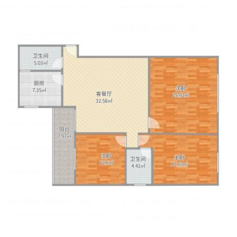 广海花园海天楼508,5093室1厅2卫1厨150.00㎡户型图