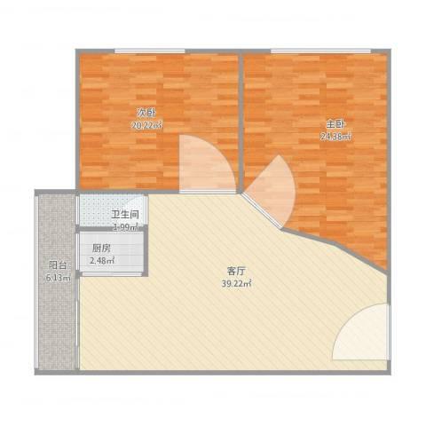 华苑大厦2室1厅1卫1厨125.00㎡户型图