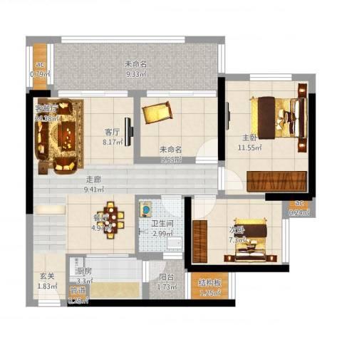 珑湖湾东岸2室1厅3卫3厨101.00㎡户型图