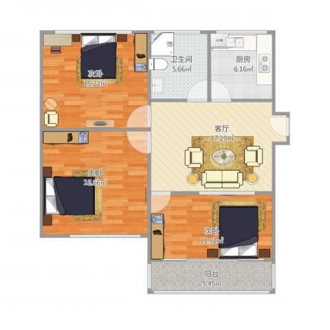 莲溪八村3室1厅1卫1厨105.00㎡户型图