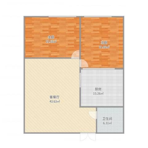 广海花园海天楼2室1厅1卫1厨142.00㎡户型图