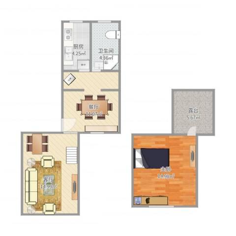 绿川公寓1室2厅1卫1厨75.00㎡户型图