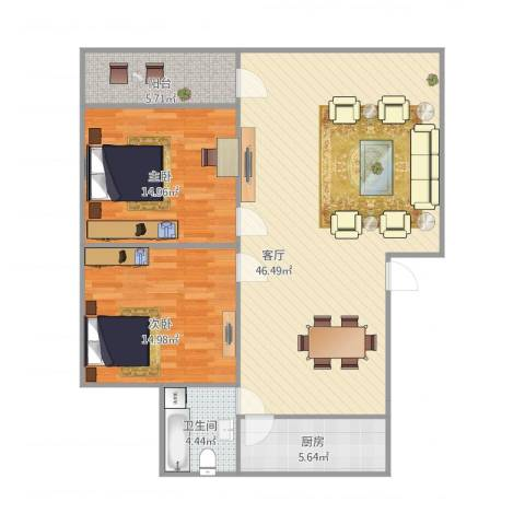 佳宝路单位宿舍2室1厅1卫1厨122.00㎡户型图