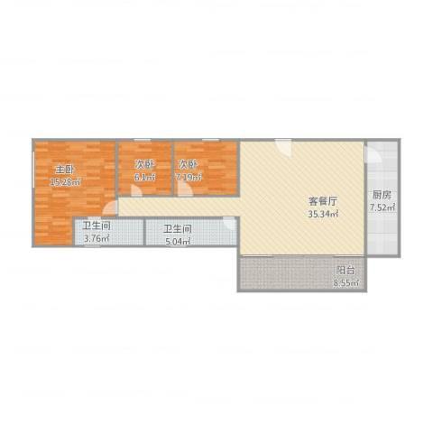 尚明雅舍3室1厅2卫1厨120.00㎡户型图