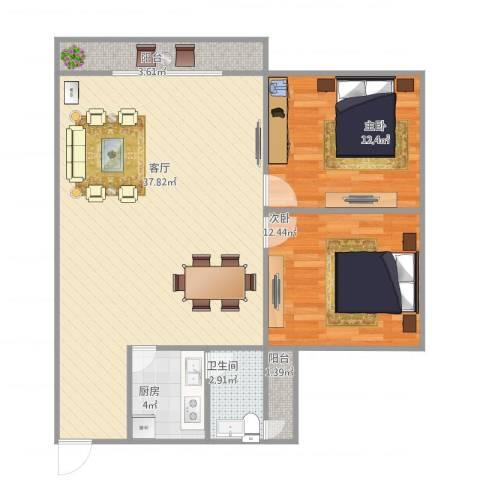 珠江小区2室1厅1卫1厨100.00㎡户型图