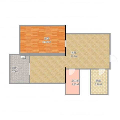 丰台区洋桥东里1室1厅1卫1厨101.00㎡户型图