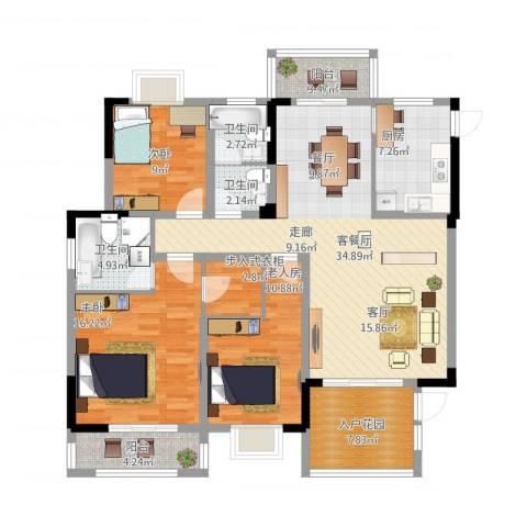 中鼎江岸花城3室1厅3卫1厨154.00㎡户型图