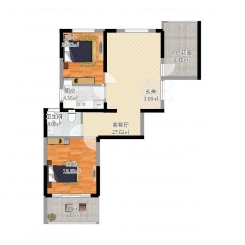 新加坡花园城2室1厅2卫1厨84.72㎡户型图