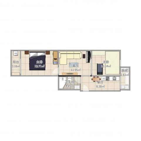 瑞通里2室2厅1卫1厨74.00㎡户型图
