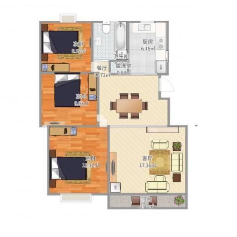 七彩星城3室3厅1卫1厨102.00㎡户型图