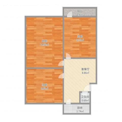 清河小区3室1厅1卫1厨63.00㎡户型图