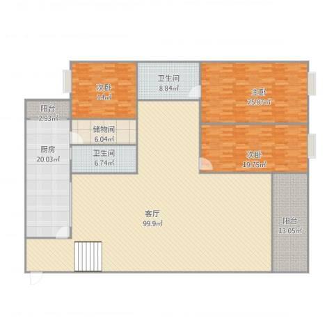 巴山夜雨3室1厅2卫1厨285.00㎡户型图
