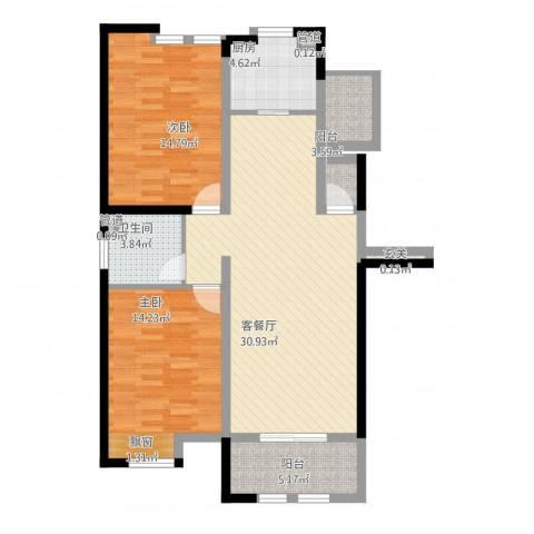 御景华庭2室1厅1卫1厨112.00㎡户型图