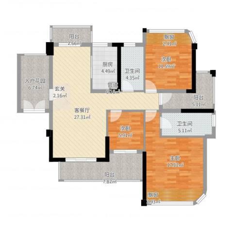 东方・比华利山庄3室1厅2卫1厨142.00㎡户型图