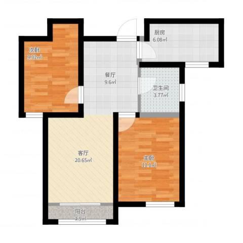 学仕府花园2室1厅1卫1厨77.00㎡户型图