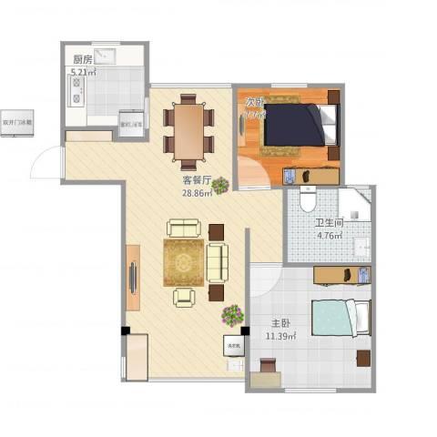 海尚乐苑2室1厅1卫1厨78.00㎡户型图