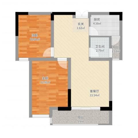 泰鑫・现代城2室1厅1卫1厨88.00㎡户型图
