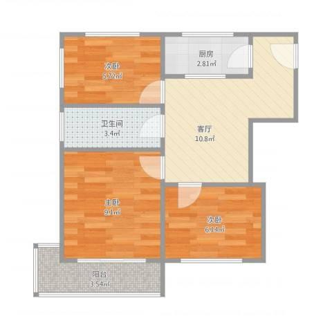 蒲黄榆路7.9103室1厅1卫1厨58.00㎡户型图