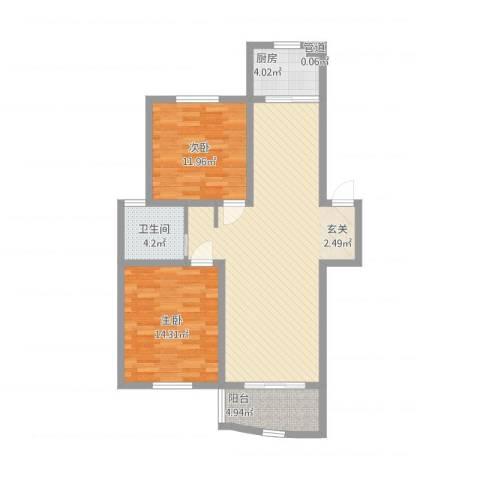 华强阳光新城2室1厅1卫1厨107.00㎡户型图