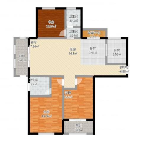 国华天玺3室1厅3卫1厨175.00㎡户型图