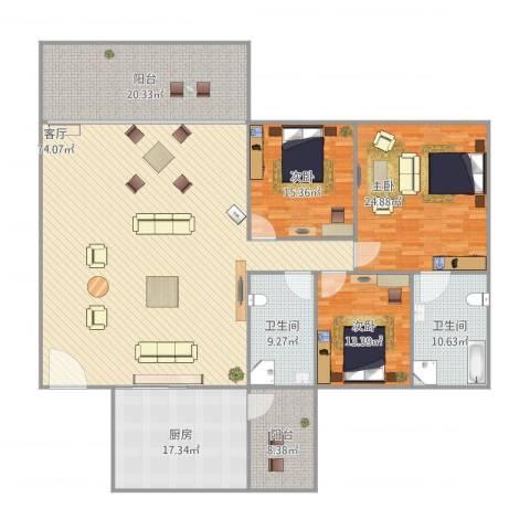 百事佳花园3室1厅2卫1厨255.00㎡户型图