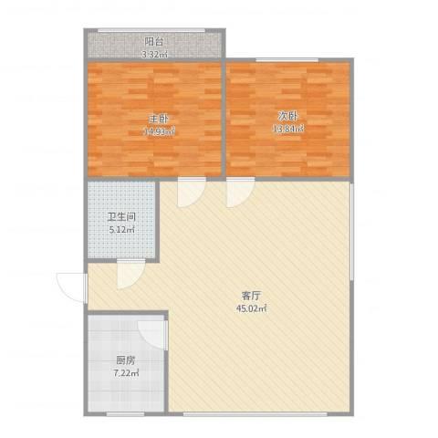 新天泰花园2室1厅1卫1厨119.00㎡户型图