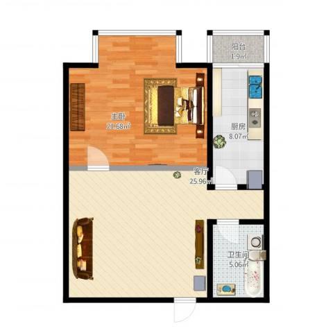 天通・公园里1室1厅1卫1厨87.00㎡户型图