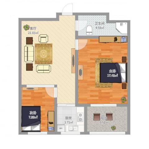 杨柳国际新城2室1厅1卫1厨90.00㎡户型图