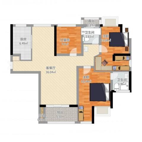 绿地东上海3室1厅2卫1厨133.00㎡户型图