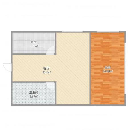 自由港1室1厅1卫1厨97.00㎡户型图
