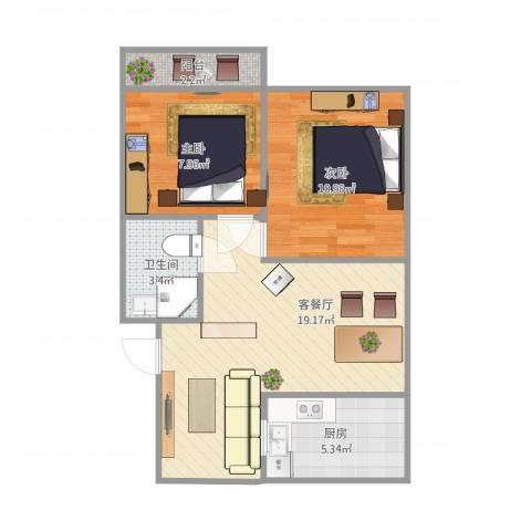 滨河鑫苑2室1厅1卫1厨67.00㎡户型图