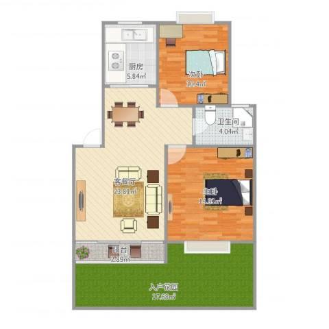 大华锦绣华城第9街区2室1厅1卫1厨107.00㎡户型图