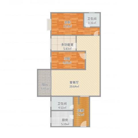 风度广场15栋10012室1厅2卫1厨112.00㎡户型图