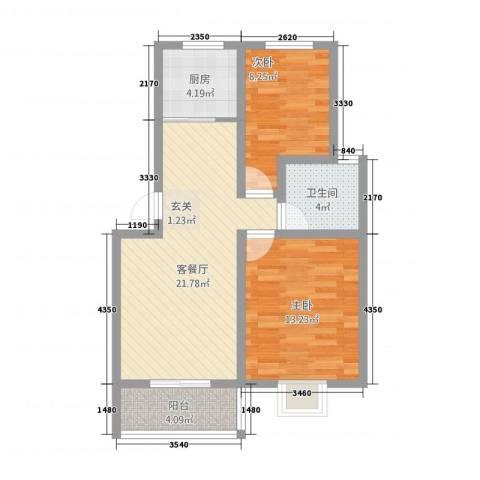 祥和至尊2室1厅1卫1厨81.00㎡户型图
