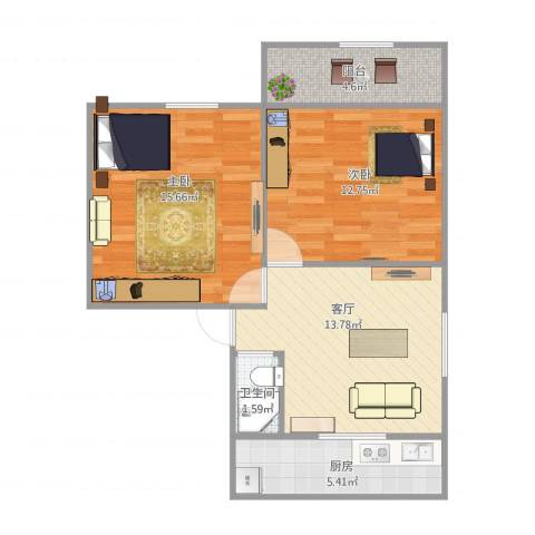 化纤厂宿舍2室1厅1卫1厨73.00㎡户型图