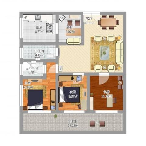 太湖新城3室2厅2卫1厨150.00㎡户型图