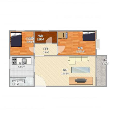 俊雅苑3室1厅1卫1厨92.00㎡户型图