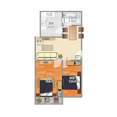 堤口路铁路宿舍2室1厅1卫1厨59.00㎡户型图