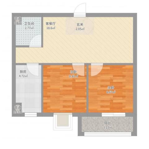新希望乐城2室1厅3卫1厨67.00㎡户型图